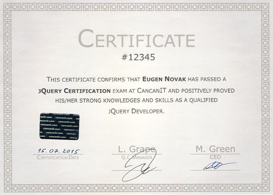 example certificate